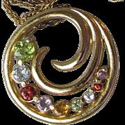 Sterling Silver Vermeil Multi Gemstone Necklace