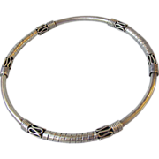 Ornate Bali Sterling Silver Bangle Bracelet with Scrolls & Wraps