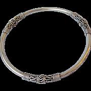 Bali Sterling Silver Three Scroll Vintage Bangle Bracelet
