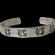 SALE Vintage Native American Sterling Silver HOPI Frog Motif Cuff Bracelet
