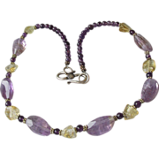 Exquisite Artisan Ametrine, Citrine, Amethyst & Sterling Silver Necklace