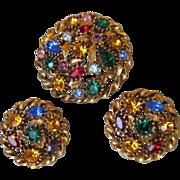 Multi-Color Rhinestone Round Pin & Earrings Set, Vintage 1960's Demi Parure
