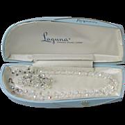 Vintage 1950's Laguna Double Strand Aurora Borealis Crystal Necklace & Waterfall Earrings