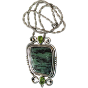 SALE DRASTIC REDUCTION - BIG Sterling Silver, Malachite & Peridot Pendant Necklace