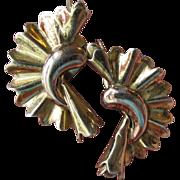 SALE 1940's Retro Deco Early Monet Sterling Vermeil Fan Earrings
