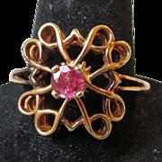SALE Vintage Avon President's Club Award Sterling Silver Rose Gold Vermeil Genuine Ruby ...