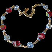 Vintage Unusual Cut Blue & Red Aurora Borealis Crystal Bead Necklace