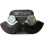 Vintage East 'O Java Sterling Silver, Abalone & Faux Tortoise Shell Earrings