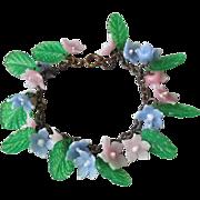 REDUCED Marvelous Vintage 1920's Celluloid Flowers Charm Bracelet