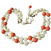 REDUCED Vintage Japanese Two-Strand Mother-of-Pearl Disk Bead & Faux Coral Glass Necklace