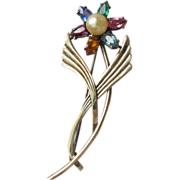 1940's Vintage Multi-Color Rhinestone & Faux Pearl Sterling Silver & 14k Gold Signed .