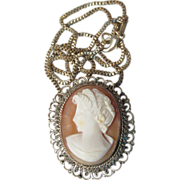REDUCED Antique Ornate Victorian 800 Silver Shell Cameo & Sterling Silver Chain Necklace