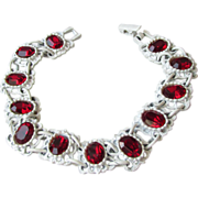 SALE Striking Vintage White Japanned Red Rhinestone Bracelet