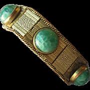 SALE DRASTIC REDUCTION - 1920's Vintage Art Deco Egyptian Peking Glass Gilt Brass Bracelet