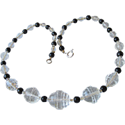 Art Deco Shapes Vintage 1920's Crystal & Black Beads Flapper Necklace