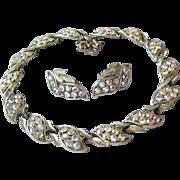 CORO Vintage 1950's Modernist LEAF Aurora Borealis Rhinestone Necklace & Earrings Set