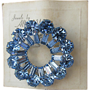 WEISS Sparkling Blue Rhinestone Pin, NEW On Card!