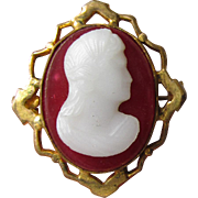 Antique Victorian Hard Stone Gold-Filled CAMEO Pin