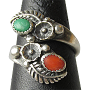 Vintage Native American Navajo Sterling Silver, Turquoise & Coral Ring, Adjustable Size 7-