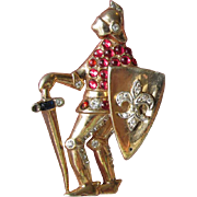 SALE Coro Craft Sterling Silver Vermeil Figural KNIGHT Fur Dress Clip Pin