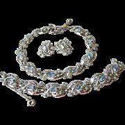 CORO Blue AB Rhinestone Parure, 1950's Vintage Necklace, Bracelet, Earrings Set
