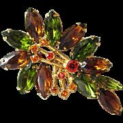 SALE Vintage Unsigned WEISS Rhinestone Autumn Leaf Pin