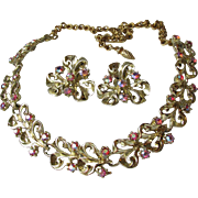 SALE Retro 1950's Vintage Dark Pink Aurora Borelais Rhinestone Necklace & Earrings Set