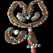 SALE Vintage 1960's Faux Turquoise, Coral, Pearl & Multi Chain Tassel Necklace, Bracelet & ...