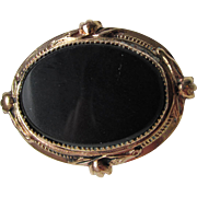 SALE Victorian Revival Early Coro Black Glass Gold-Tone Vintage Pin