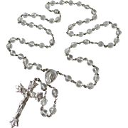 SALE Large Beautiful Sterling Silver & Crystal CREED Rosary