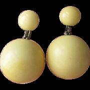 SALE 1930's Vintage Cream Bakelite Dangle Bead Earrings
