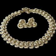 Vintage CORO Rhinestone Collar Necklace & Earrings Set