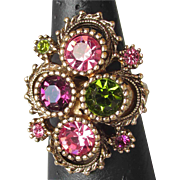 Vintage 1973 Sarah Coventry Austrian Lites Adjustable Cocktail Ring