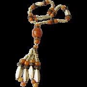 1960's Vintage Amber Lucite & Bone Tassel Necklace