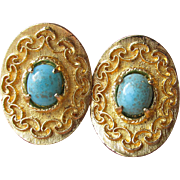 SALE VENDOME Vintage Turquoise Venetian Glass Gold Tone Clip Earrings
