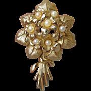 Vintage Boucher VIOLETS Faux Pearl Flower Bouquet Pin