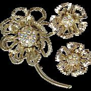 SALE Vintage 1968 Sarah Coventry ALLUSION Aurora Borealis Rhinestone Flower Pin & Earrings Set