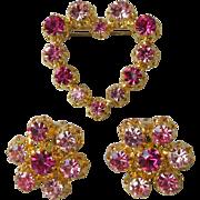 Vintage Austria Pink & Purple Rhinestone Heart Pin & Earrings Set