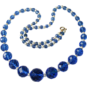 Vintage Long Vibrant Blue Crystal Czech Glass Bead & Faux Pearl Necklace