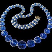 SALE Vintage Long Vibrant Blue Crystal Czech Glass Bead & Faux Pearl Necklace