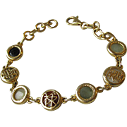 Sterling Silver Vermeil Multi Color JADE Link Bracelet with Chinese Characters, Size Small