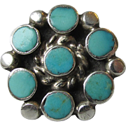 SINGLE Native American ZUNI Sterling Silver Petit Point Turquoise Vintage Pierced Earring, ...