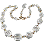 1940's Vintage Unusual Signed Simmons Square Cut Crystal Bead Gold Filled Chain Strung Necklac