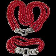 SALE 1920's Vintage Triple Strand Red Glass Bead Art Deco Rhinestone Clasp Bracelet & Flapper