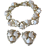 Vintage CORO White Pearlescent Hearts Thermoset Rhinestone Bracelet & Earring Set
