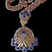 Exquisite Vintage 1930's Art Deco Copper Tone & Sapphire Blue Rhinestone Refurbished Necklace
