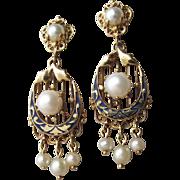 SALE Antique Victorian 14k Gold, Enamel & Natural Pearl Dangle Earrings, Refurbished for ...