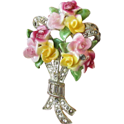 Early RARE Coro Pastel Porcelain Vintage Rhinestone ROSE Bouquet China Pin