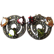 Vintage Sterling Silver, Marcasite & Multi Gemstone Button Pierced Earrings