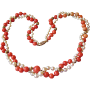 """Fine 1920's Vintage Coral & Cultured Pearl Double Strand 20"""" Necklace, 14k Gold Clasp & B"""